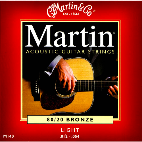 Martin M140 80/20 Bronze Light .012-.054 Acoustic Guitar Strings Set